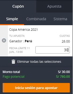 cupón copa America 2021 Ganador Peru